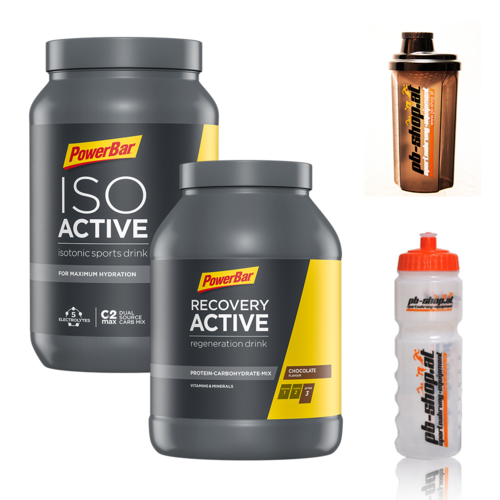 PowerBar Iso Active 1320g Dose + Recovery 1200g Dose incl. Radflasche + Shaker