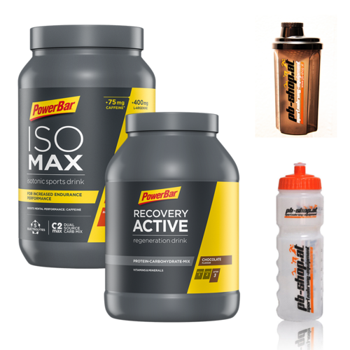 PowerBar IsoMax 1,2kg Dose + Recovery 1,2kg Dose incl. Radflasche + Shaker