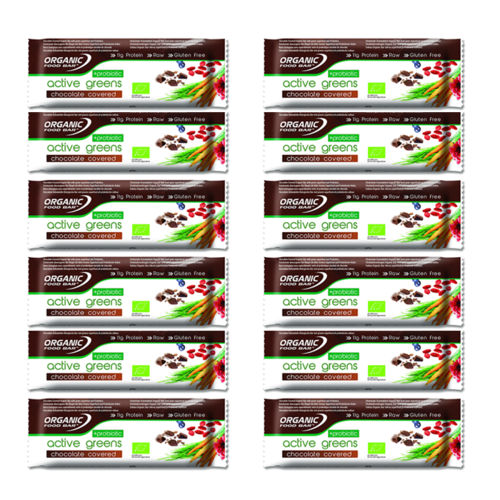 Organic Food Bar 68g - Chocolate Covered Active Greens 12er Pack