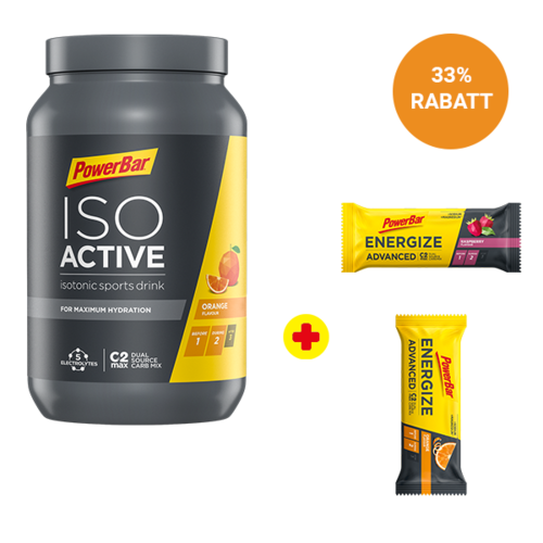 PowerBar Iso Active Sports Drink 1320g Dose + 2 Energize Advanced Riegel